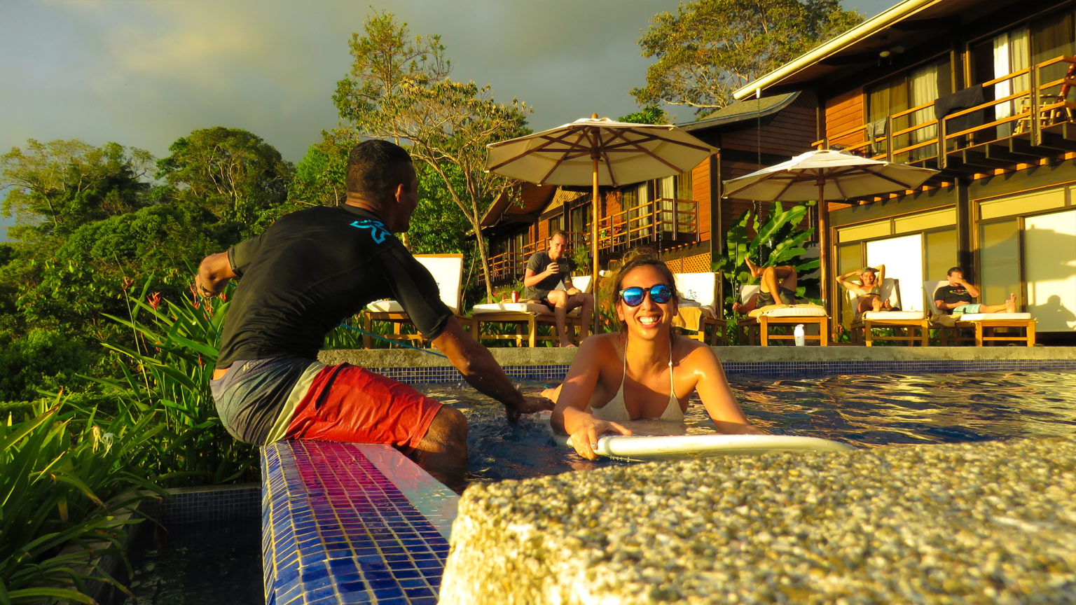 Learn surfing basics and paddle for surfing in the comfort of the Kalon Surf Camp Costa Rica pool.