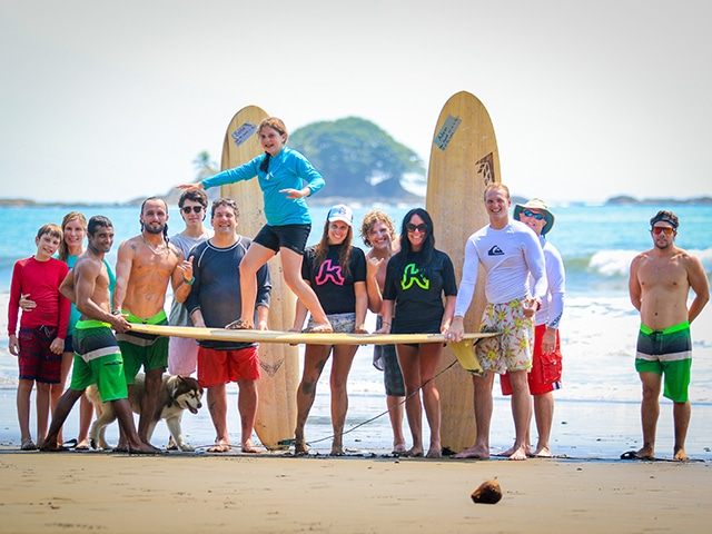 family surfing costa rica