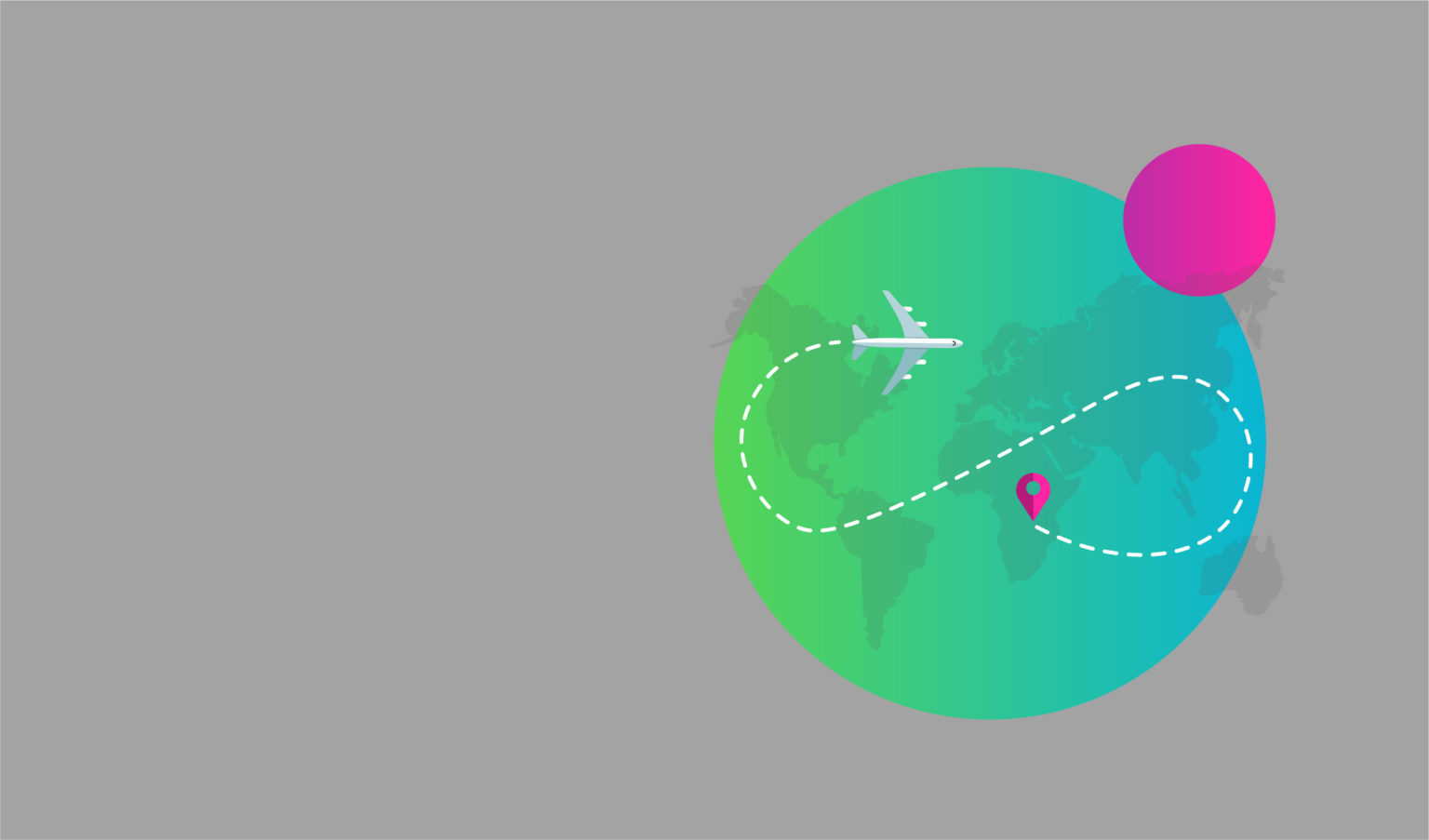 Green globe with airplane illustration